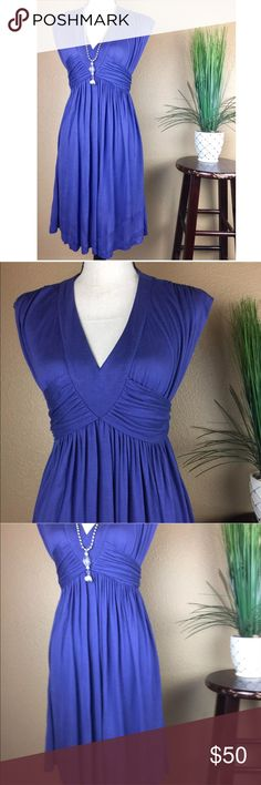 """Urban Outfitters Lux Empire Waist Ruched Dress [N19] NEW Urban Outfitters Lux Dress Empire Waist Size XS Blue Ruched Sleeveless $58  Approximate Measurements: *Measurements are done with the item laying flat: •Chest/Bust (Pit to Pit): 14"""" •Empire Waist: 12"""" (has stretch) •Length (Shoulder to Hem): 34"""" **Measurements vary from brand to brand. Please use pictures and provided measurements to determine best fit for your needs. Urban Outfitters Dresses"""