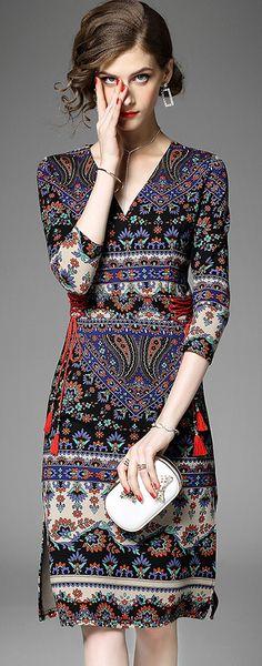 Ethnic V-Neck 3/4 Sleeve Floral Print Slim Skater Dress