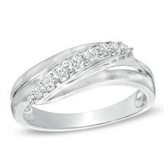 1/4 CT. T.W. Diamond Slash Ring in 10K White Gold - Zales