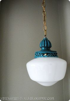 This light fixture was found at the DI for $5.00.  The school house globe is around $4.00 from Home Depot.
