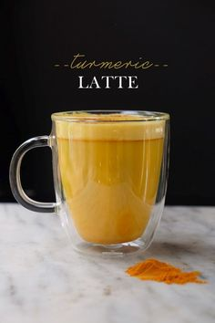 This Turmeric Latte is blend of vanilla almond milk with ground turmeric, cinnamon, coconut oil & a pinch of sea salt.