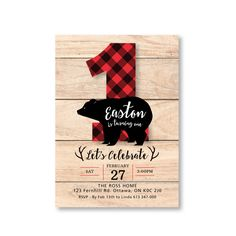 Lumberjack First Birthday Invitation / Printable, Customized, DIY invitation / bear, buffalo plaid, wood / Rustic Woodland Lumberjack boy