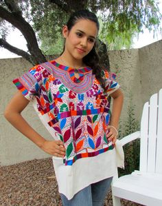 387494c4c0 Huipil or Blouse vibrant colorful hand by ArteDeMiTierraMX on Etsy