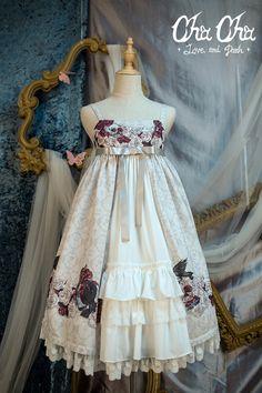 NyaNya Lolita -Love and Death- Lolita High Waist Open Front Jumper Dress