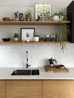 Home Decor Kitchen, Kitchen Living, Interior Design Kitchen, Home Kitchens, Country Kitchen, Timber Kitchen, Kitchen Tiles, Ikea Kitchen Doors, Ikea Kitchen Shelves