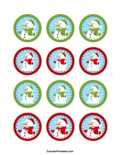 12 x Snowman Edible Cupcake Toppers Christmas Cake Pops, Christmas Ornaments To Make, Kids Christmas, Christmas Crafts, Christmas Tags Printable, Free Printable Tags, Christmas Clipart, Bottle Cap Projects, Bottle Cap Crafts