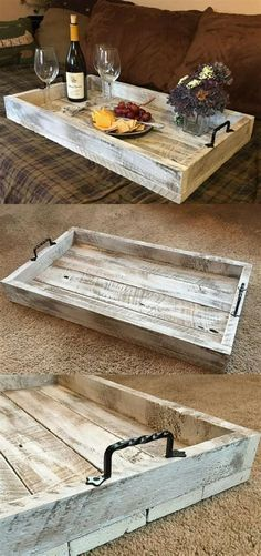 This Simple, Rustic Farmhouse Serving Tray would be a perfect addition to your coffee table or ottoman. This Simple, Rustic Farmhouse Serving Tray would be a perfect addition to your coffee table or ottoman. Diy Wood Projects, Wood Crafts, Woodworking Projects, Fine Woodworking, Japanese Woodworking, Woodworking Workshop, Woodworking Techniques, Woodworking Classes, Woodworking Videos