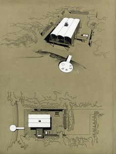 Paul Rudolph (1953): Perspective and plan on brown paper with building highlighted in white.