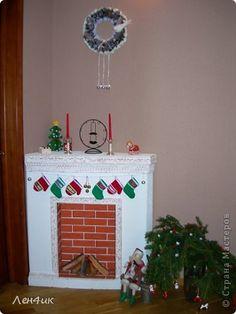Интерьер Новый год Моделирование конструирование камин Картон Краска фото 1