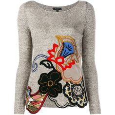 Etro Patchwork Embellished Cotton-Blend Jumper featuring polyvore women's fashion clothing tops sweaters brown embellished tops boat neck jumper multi color sweater patchwork sweater long sleeve tops