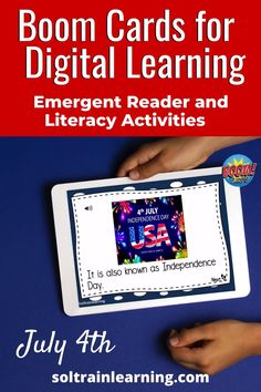 These digital boom cards are fun, self-checking and paperless. These July 4th emergent reader task cards include comprehension questions, vocabulary and phonics and they are great for distance learning!   #boomcards#distancelearning#literacycenters