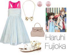 """Haruhi Fujioka"" by tedelof on Polyvore I would had prob a shirt underneath or jean jacket. :D"