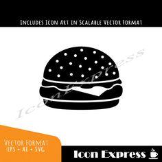 Hamburger Art Graphic Icon Food Vector Cheeseburger by IconExpress