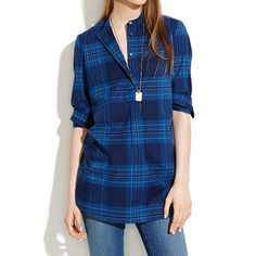 Wellspring Tunic Popover in Nightsail Plaid - shirts & tops - Women's NEW ARRIVALS - Madewell