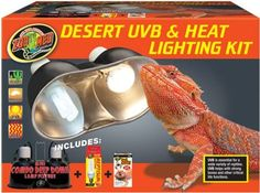 Zoo Med Desert UVB & Heat Lighting Kit Desert UVB & Heat Lighting Kit Includes: Mini Combo Deep Dome with Dual ceramic sockets for use with lamps as much as 160 watts per socket.