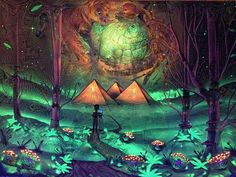 {{{Deep Dream in Wonderland}}} What computers see when they dream about the collaborative painting between @chazlake and myself.  Original owned by @borohunterz   #deepdream #uvreactive #uvpaint #megalith #mushrooms #fungusamongus #spaceglass #spacepainting #spraypaintart #acrylicpainting #artoftheday #artistsofinstagram #notill #rosintech #extraterrestrial #interdimensional #teamingwithmicrobes #tranceglassart #tranceyourmind by tranceglassart