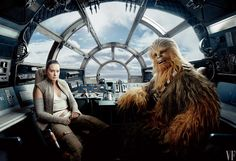 Driver's Seat Daisy Ridley as Rey, at the helm of the Millennium Falcon, with Joonas Suotamo as co-pilot Chewbacca.