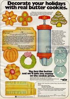 Recipe for Holiday Butter Cookies using my cookie press! (1972)