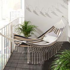 Hängematte in Grau und Natur online bestellen Hammock Balcony, Small Balcony Decor, Outdoor Furniture, Outdoor Decor, Terrazzo, House Design, Modern, Home Decor, Garden