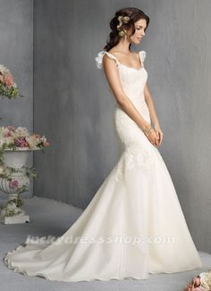Ivory Mermaid/Trumpet Scoop Garden/Outdoor Wedding Dress With Backless (MW400E)