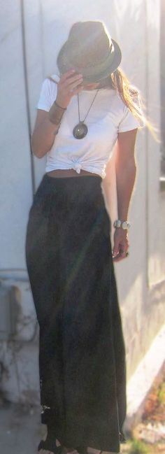 Long black skirt, hat and white blouse combination