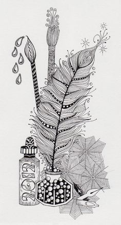 Zentangles......maybe the inspiration for this year's Christmas cards? Lots of work, but you only have to draw it once.
