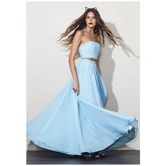 Fame&Partners Two Piece Strapless Light Blue Sweet Rebel Dress ($185) ❤ liked on Polyvore featuring dresses, gowns, light blue, two piecestrapless, homecoming dresses, light blue ball gown, prom gowns, blue graduation gown and blue formal gown