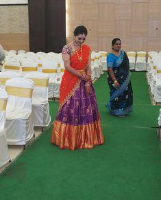 Half Saree Lehenga, Lehnga Dress, Lehenga Style, Indian Lehenga, Anarkali Gown, Lehenga Blouse, Lengha Blouse Designs, Kids Blouse Designs, Half Saree Designs