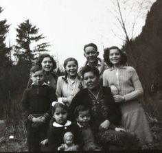 Kathleen,Thelma, Gunnar Scott and Theresa--Norman, Susan Elizabeth Scott -- in front, twins Rosemary and Richard- at Laidlaw, B.C., in 1940s