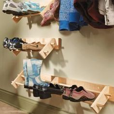 Easy Project Build a Shoe Organizer  Store shoes up off the floor in clean, natural wood racks. This simple storage rack can handle everything from winter boots to summer sandals, with no mud buildup or scuff marks on the wall.