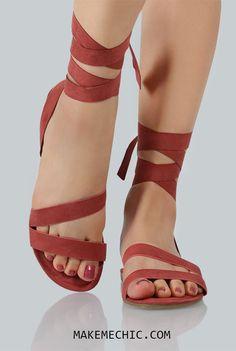 Faux Suede Ankle Wrap Sandals MAUVE