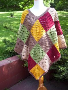 Crocheted Granny Square Patchwork Poncho / by InspiredImaginings, $79.00