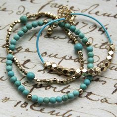 adorn512-Handstamped Jewelry - Personalized Mother Jewelry — Turquoise and Gold Beaded Bracelets