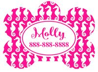 Personalized Sea Horse Pet Tag (Spring Time Design 10) with Steelheart Font
