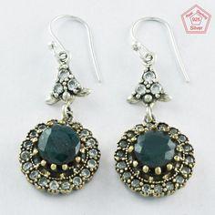 925 Sterling Silver Emerald & CZ Stone Fashion Dangle & Drop Earrings E4071 #SilvexImagesIndiaPvtLtd #DropDangle