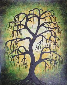 Green willow tree Fine art Original Acrylic painting by treeartist, $59.00