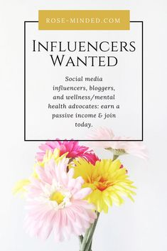 Brand influencers, social media influencers, mental health bloggers, lifestyle bloggers, wellness bloggers, advocates: join the affiliate program at rose-minded.com and earn a passive income from your phone or laptop. Wellness by Rose-Minded self-care products and digital journal guides at Rose-Minded!