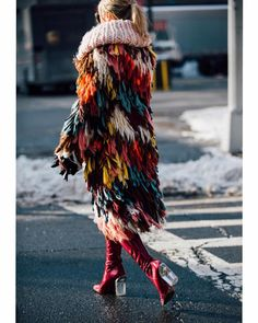 Jacket | Shag | Colourful | Fringing | Boots | Street Style | Winter ✩ @thehazelvalley