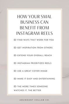 How to use Instagram Reels and other Instagram Reels tips for small businesses. Instagram marketing tips by Abundant Collab Co #instagram #marketing #socialmedia Content Marketing Strategy, Small Business Marketing, Business Tips, Media Marketing, Instagram Marketing Tips, Instagram Tips, Online Entrepreneur, Social Media Tips, Girl Boss