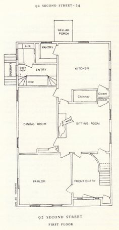 The Borden house layout  The floor plan of the first floor