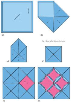 Don't be intimidated by the cathedral window quilting technique: This tutorial makes it a breeze Easy quilt patterns for baby that are fast to grasp Patchwork and Quilting Quilting is a craft that has been around since, according to Emporia State Universi Patchwork Quilting, Patchwork Patterns, Quilt Block Patterns, Origami Quilt Patterns, Cathedral Window Patchwork, Cathedral Window Quilts, Cathedral Windows, Cathedral Train, Cathedral Mirror