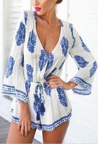 Deep V Neck Lace Up Pastel Floral Print Jumpsuit