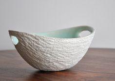 Mint Green Medium Modern Walnut Bowl  White by elementclaystudio