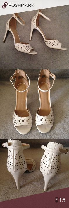 Lauren Conrad Heels White heels with cute little cutouts in like new condition. Perfect for a summer look!  LC Lauren Conrad Shoes Heels