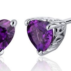 Revoni- 1.50 Carats Amethyst Heart Shape Stud Earrings in Sterling Silver