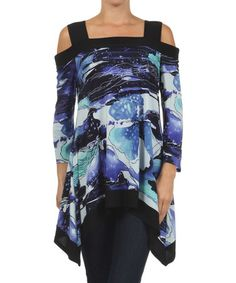 Look at this #zulilyfind! Blue & Black Watercolor Floral Cutout Sidetail Tunic by Come N See #zulilyfinds