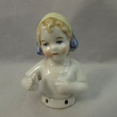 German Half Doll Pin Cushion Top Sweet Little Girl Marked small Rare Art Deco