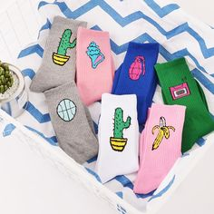 Korean Novelty Women and Men Cotton Crew Socks Funny Cactus Banana Pattern Crea… – socks women Funky Socks, Crazy Socks, Cute Socks, Happy Socks, Iconic Socks, Unisex, Harajuku, Lingerie Vintage, Patterned Socks