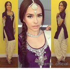 Purple and white color combo , salwar kameez - Bambi Bains Patiala Salwar Suits, Churidar, Anarkali, Kurti, Indian Suits, Indian Dresses, Indian Wear, Indian Style, Punjabi Dress