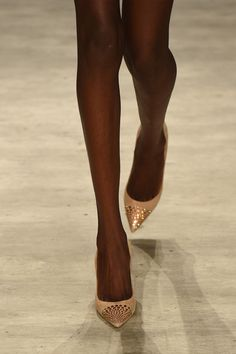 A model (shoe detail) walks the runway at the David Tlale fashion show during Mercedes-Benz Fashion Week Spring 2015 at The Pavilion at Lincoln Center on September 7, 2014 in New York City.